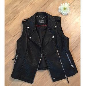 EUC Blanc Noir Vegan Leather Moto Vest